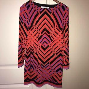 Trina Turk 0 Geo Matte Jersey Shirt Dress pop art
